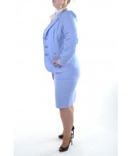 Bledomodrý letný sukňový kostým