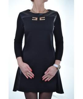 Čierne šaty s koženkou - Lina