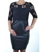Čipkované šaty s koženkou - čierne