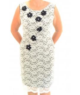 Dámske čipkované šaty -biele s modrou