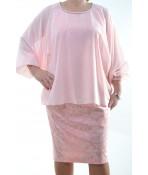 Spoločenské šaty dvojdielne - ružové D3