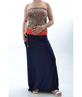 Dámske elastické letné šaty dlhé so vzorovaným opaskom - modré D3