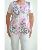 Dámske elastické tričko maslové s cyklámenovým vzorom D3