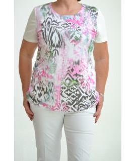 ea2ee0aafee1 Dámske elastické tričko maslové s cyklámenovým vzorom D3