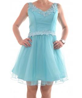 7e4cd64040cb Spoločenské šaty s krajkou - tyrkysové D3