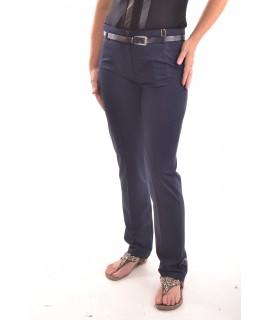 Dámske elastické nohavice s opaskom - tmavomodré D3