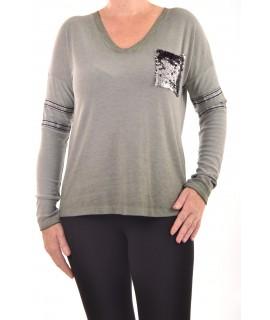 Dámske tričko s flitrovým vreckom - zelené D3