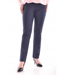 Dámske elastické nohavice s gombíkom - tmavomodré D3
