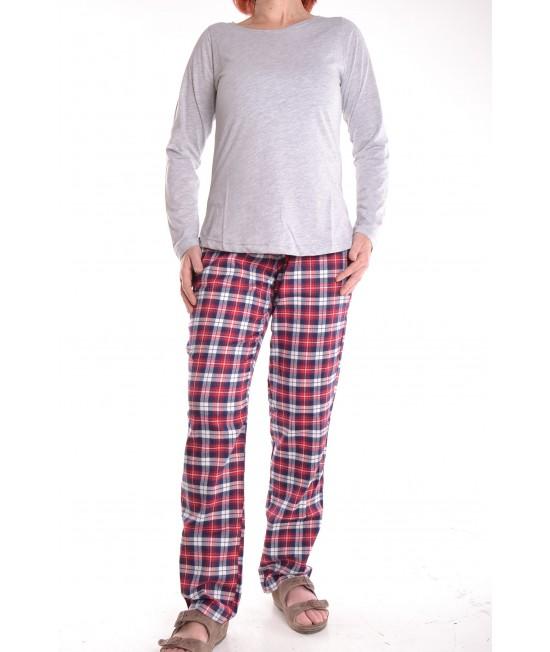 Dámske pyžamo s kockovanými nohavicami - sivé D3