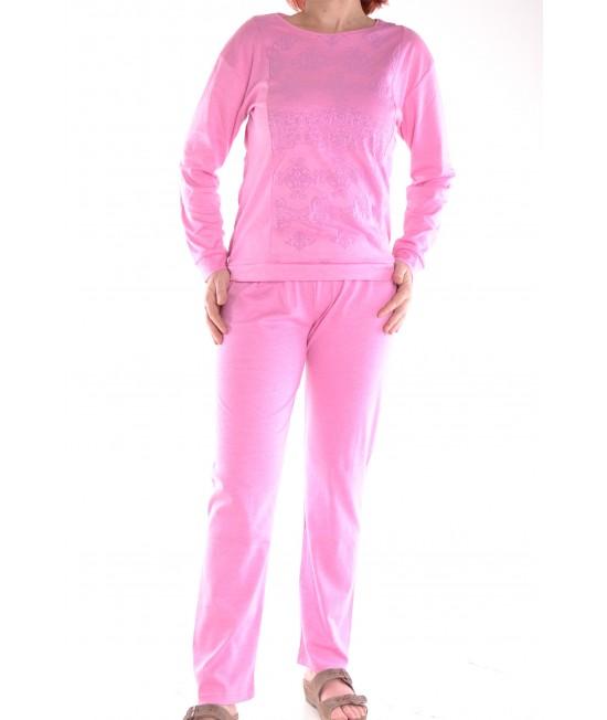 Dámske pyžamo s potlačou - fialovoružové D3