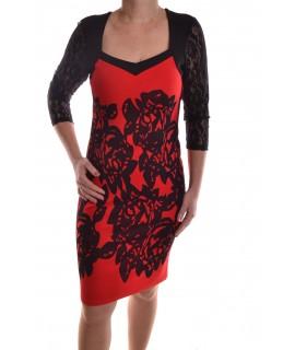 Dámske elastické šaty vzorované s čipkovým rukávom - červeno-čierne D26