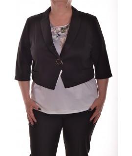 Dámsky kabátik s golierom - čierny
