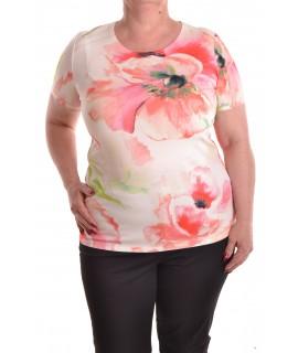 Dámske elastické tričko vzorované s kvetmi - béžové