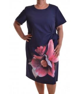 c8fe1dd08bfb Dámske spoločenské šaty s kvetom a mašľou - tmavomodré D3