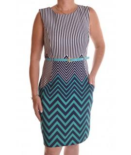 Dámske elastické šaty pásikavé - tmavomodro-tyrkysové D3