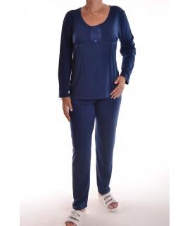 Dámske pyžamo s čipkou (N-2435) - tmavomodré