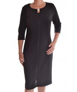 Dámske elastické šaty s ozdobou - čierne