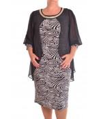 Dámske spoločenské elastické šaty so silonom a štrasovým lemom  - čierne