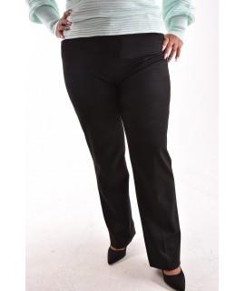 Dámske elastické elegantné nohavice s opaskom - čierne