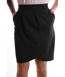 Dámska elastická sukňa s vreckami - tmavozelená
