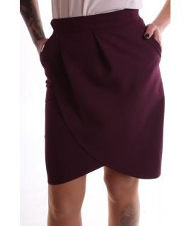 Dámska elastická sukňa s vreckami - baklažánová