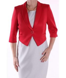 Dámska kabátik s golierom - červený 95566b5dca6