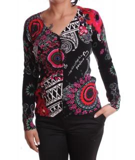 Dámsky elastický sveter vzorovaný kruhmi - čierny