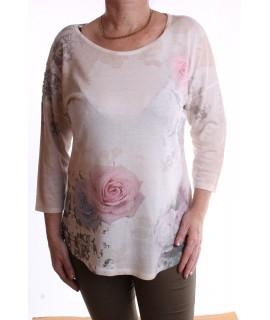 Dámske tričko s ružami a krajkou - hnedo-biele