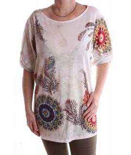 Dámske tričko s perím vzorom - hnedo-biele