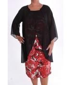 Dámske spoločenské elastické šaty so silonom a štrasom - červeno-čierne