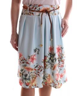 Dámska elastická sukňa s kvetinami - bledomodrá