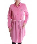 Dámska dlhá košeľa melírovaná s opaskom - ružová