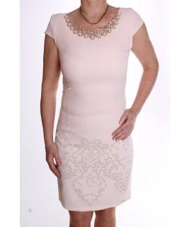 Dámske elastické šaty ozdobené s flitrami a korálkami - broskyňové