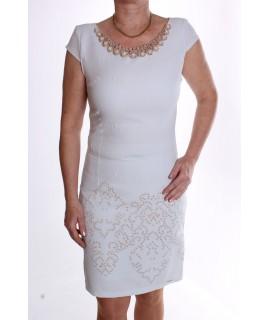 Dámske elastické šaty ozdobené s flitrami a korálkami - bledomodré