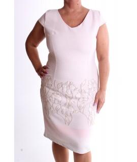 Dámske elastické šaty s kvetmi VZOR 1. - ružovo-broskyňové