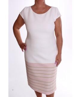 Dámske elastické šaty pásikavé VZOR 6. - ružovo-vanilkové