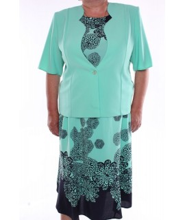 Dámsky kostým (trojkomplet) - zeleno-modrý 2.