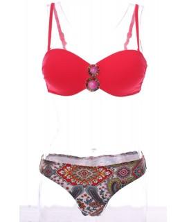Dámske plavky dvojdielné s ozdobou - červené