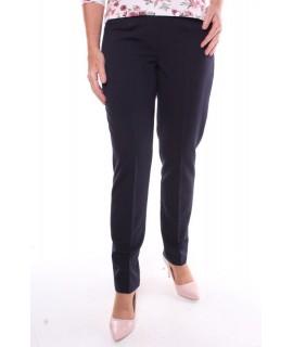 Dámske elastické elegantné nohavice na bokoch s gumou nadmerné - tmavomodré