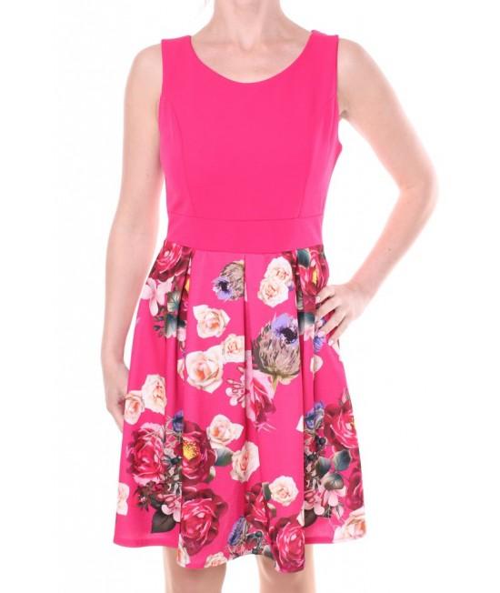 Dámske elastické šaty s ružami 2. - ružové