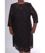 Dámske spoločenské šaty s kockami - tmavosivé D3