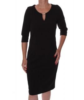 Dámske elastické šaty s ozdobou 2. - čierne D3