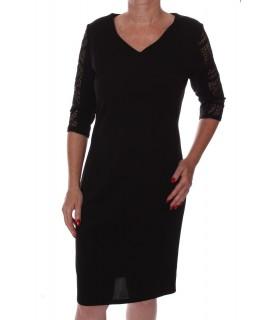 Dámske elastické šaty s čipkou - čierne