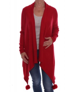 fe7aa6a12b58 Dámsky elastický sveter s brmbolcami (A3329) - červený D3