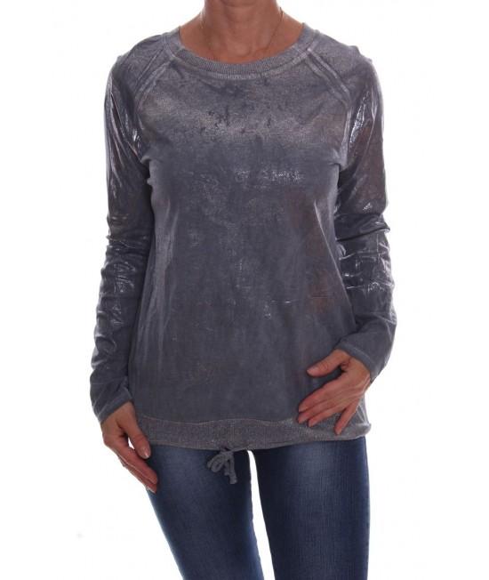 Dámske tričko so strieborným leskom - sivomodré D3
