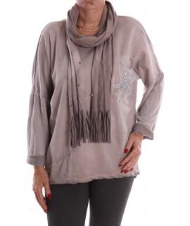 Dámske tričko so šálom - sivo-hnedé D3