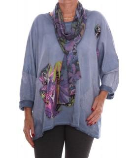 1c23127d4444 Dámske tričko s farebným šálom - modré D3