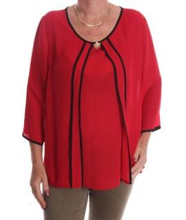 Dámska blúzka s bielym paspólom a s brošňou - červená