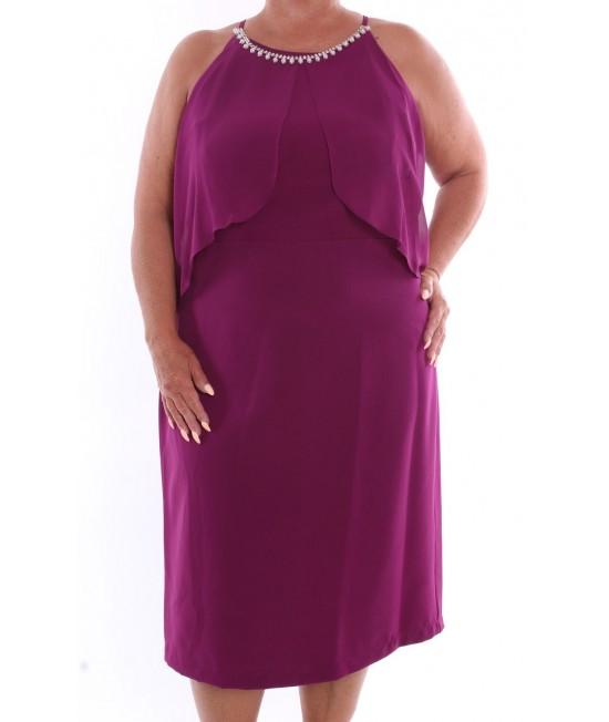 Dámske spoločenské šaty (37033) - baklažánové D3