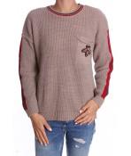Dámsky pletený pulóver s LIENKOU (7916) - bledohnedý D3